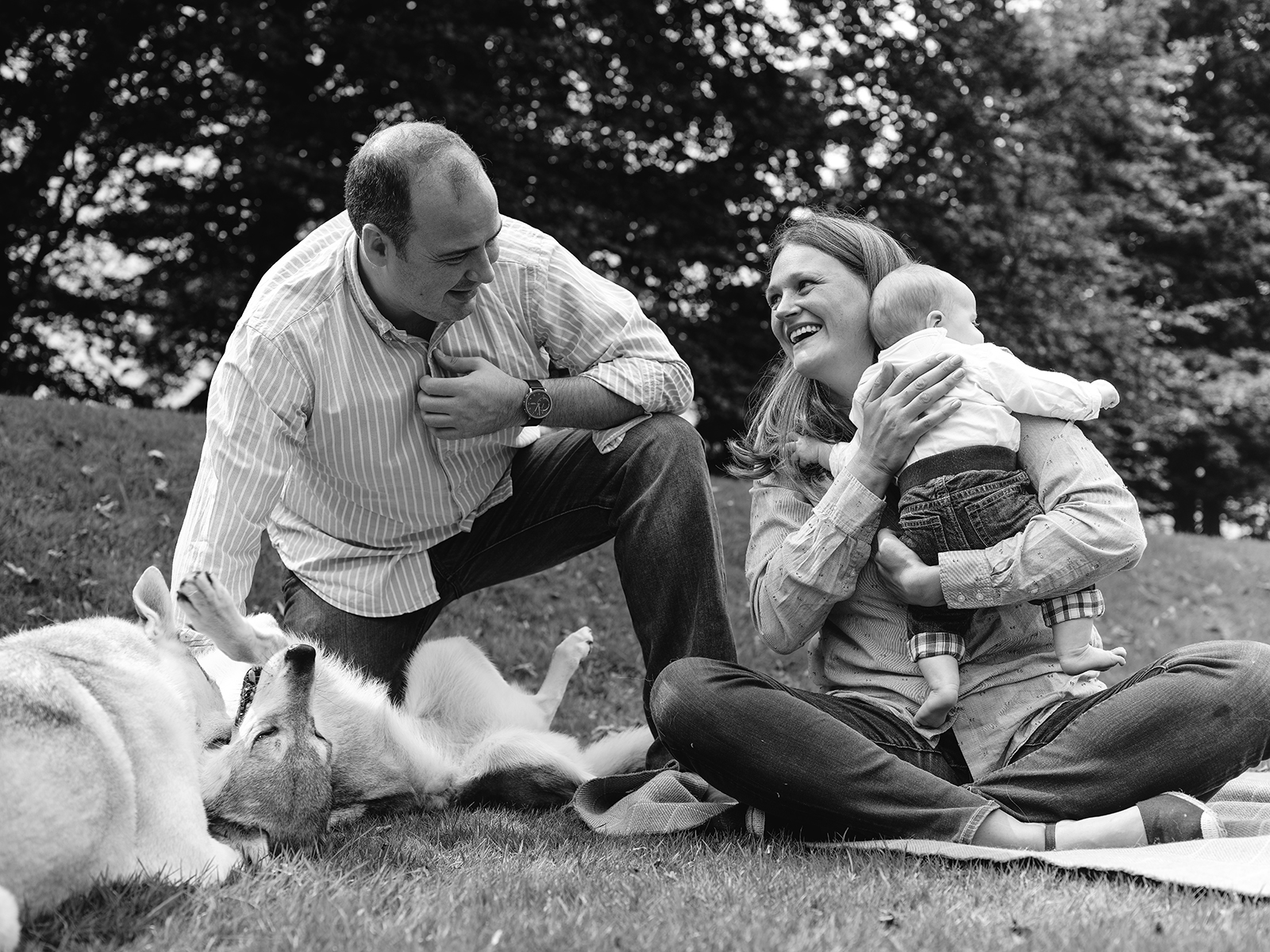 Parents and their newborn child pose with their dogs in the grass