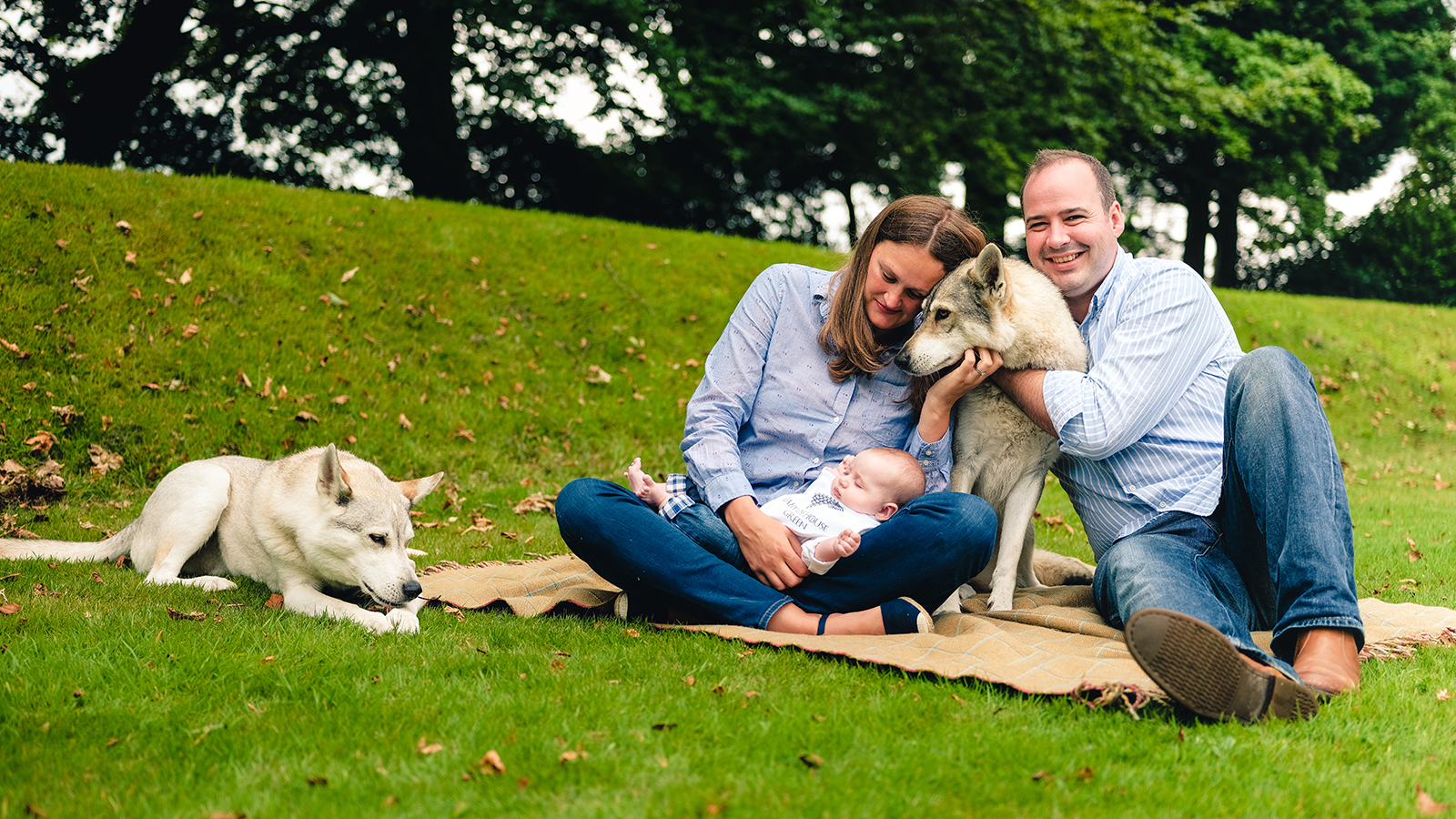 a family pose with their newborn child and two husky dogs