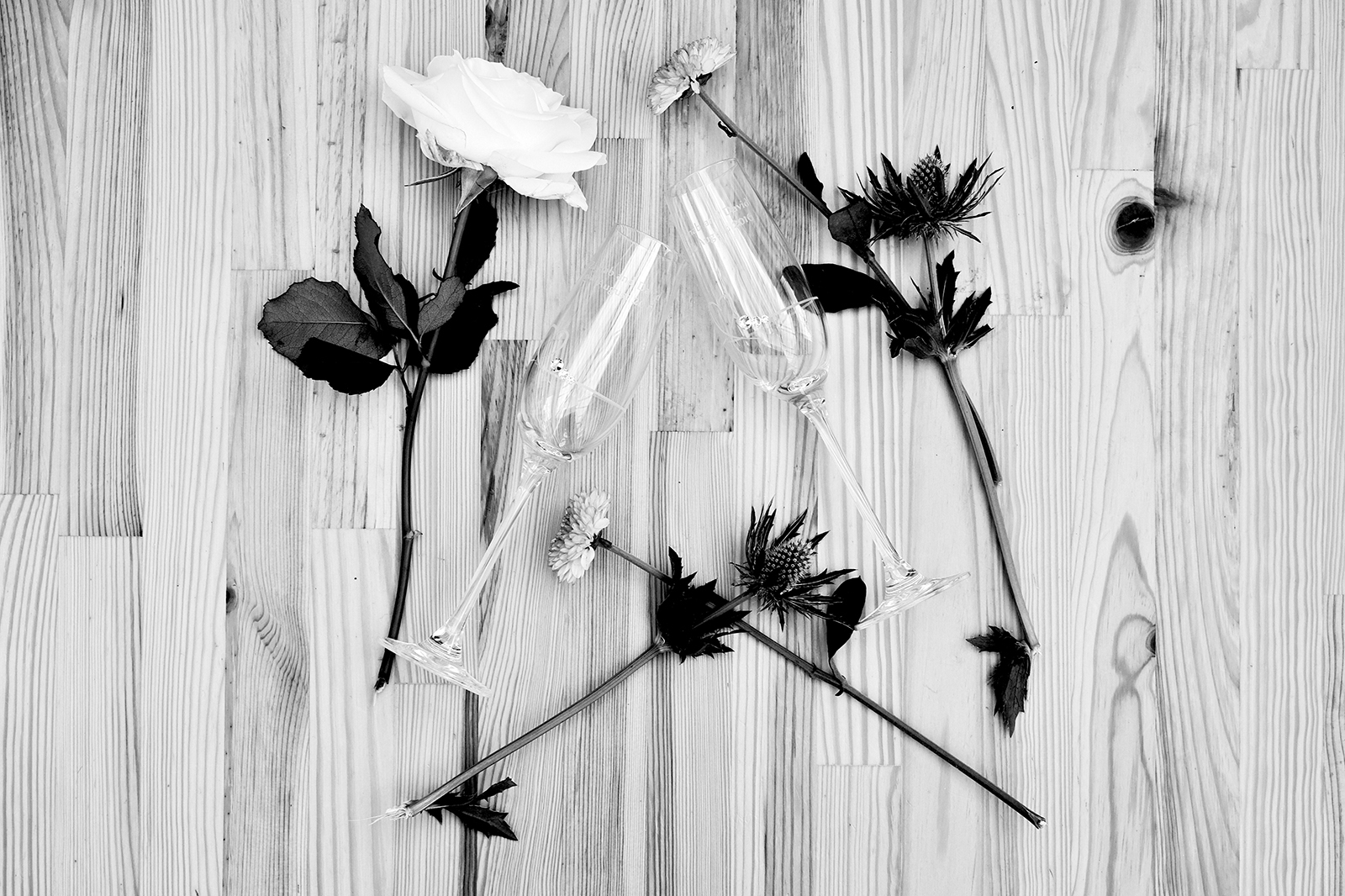 Black and white photo of champagne flutes and flowers