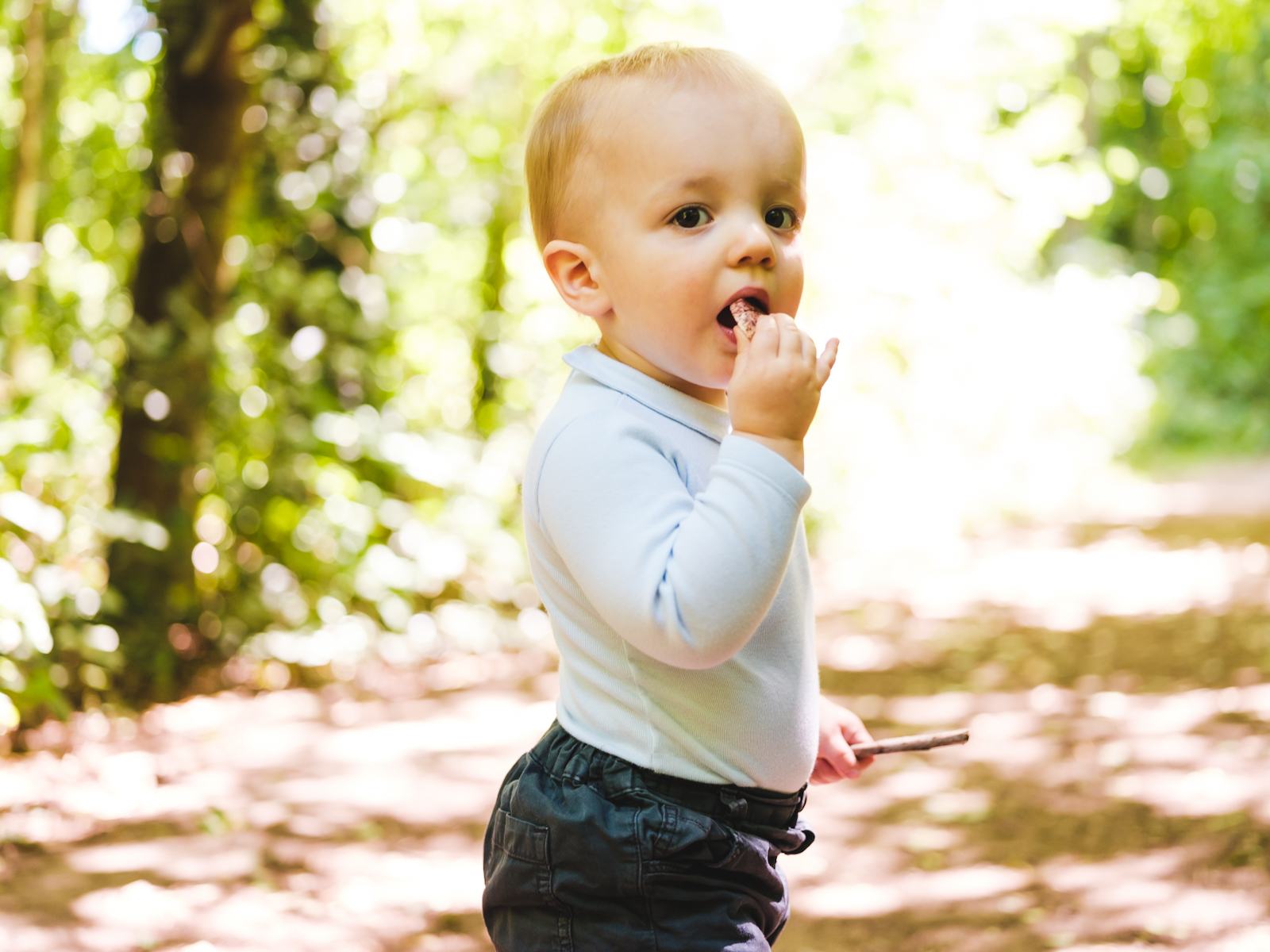 A baby boy eats a snack whilst walking through the woods