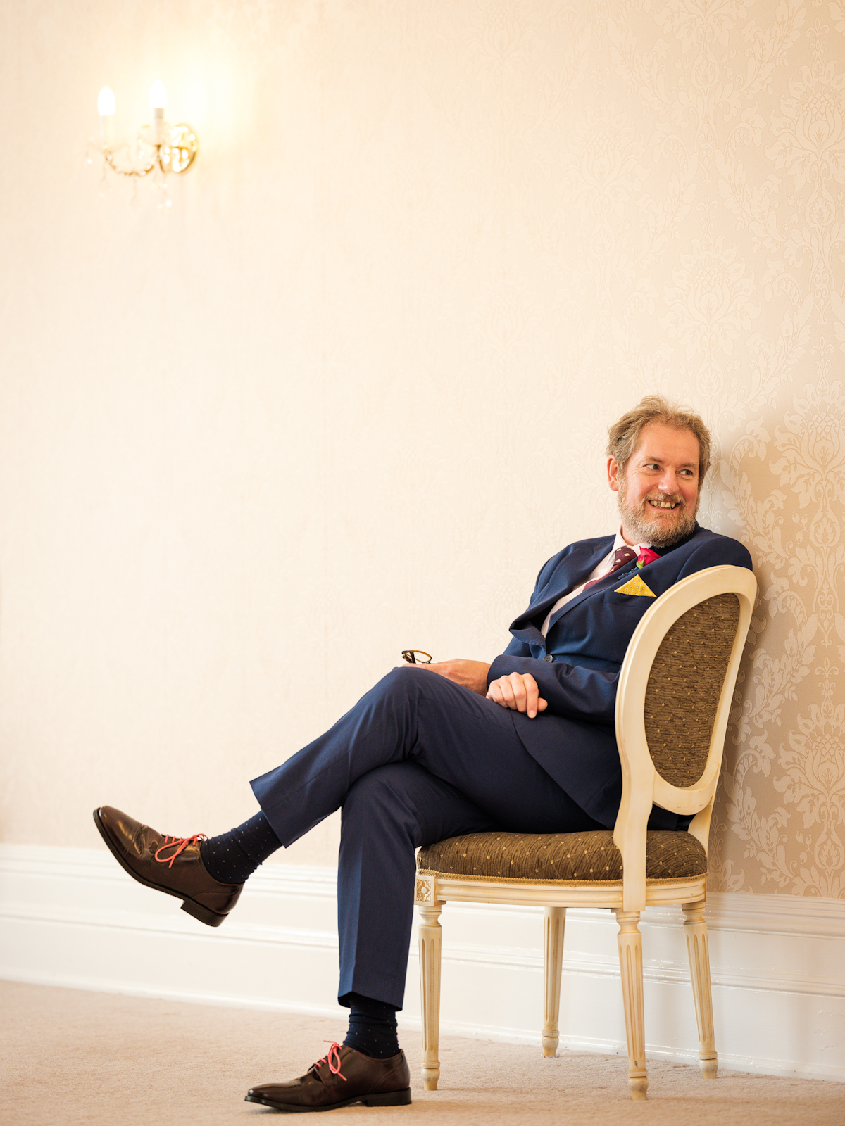 Groom during socially distanced wedding ceremony at The Mansion House in Tunbridge Wells